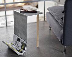 Concrete magazine rack with shelf, concrete table, side table