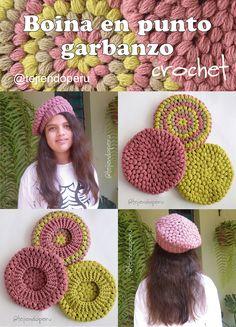 Crochet Baby Hats, Crochet Beanie, Crochet Clothes, Knit Crochet, Crochet Beret Pattern, Crochet Patterns, Baby Kimono, Crochet Squares, Knitting Accessories