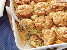 Chicken Pot Pie with Bacon-and-Cheddar Biscuits | Homemade Biscuits replace the traditional pastry crust in Chicken Pot Pie with Bacon-and-Cheddar Biscuits. These biscuits are made with sharp Cheddar cheese, chopped bacon, and chives, making them just as tasty solo as atop this chicken pot pie.