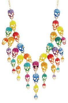 Bright and sparkly skulls make this necklace hilarious