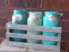 Painted Jar Planter for sale for $38.00 in Etsy.com by Painting Pirates    Handpainted, cece Caldwell, upcycled, handmade, planter, jars, atlas jars, candle jars, herb garden, flower pots, blue, green, set of three, set of 3, beachy, brown, distressed