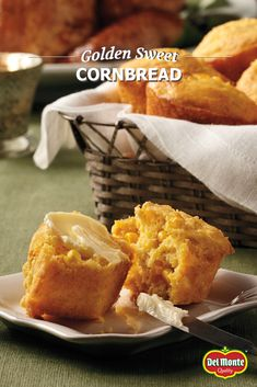 Golden Sweet Cornbread - Creamed corn and whole corn kernels bake up moist and sweet in this easy cornbread recipe using corn muffin mix – enjoy as muffins or squares with anything from chili to holiday meals. #10MINUTEWOW #DELMONTECONTEST