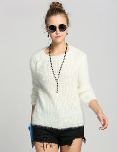 Inverno Mulheres Vintage branca de manga comprida solta Quente Bordado Jumper Knit Sweater E