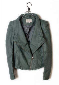 Dark Green Leather Coat