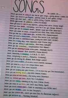 Liz this is for you because you know all these songs and at one time or another you will beed each and every one of them