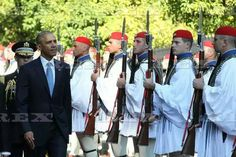 President Barack Obama visit to Greece - 15 Nov 2016  US President Barack Obama and his greek counterpart Prokopis Pavlopoulos review the Presidential Guard in Athens  15 Nov 2016