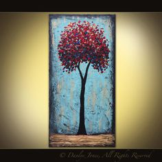 Red Tree original acrylic painting on canvas by DanlyesPaintings, $224.99