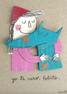 Yo te curo, lobito | Láminas originales | Anna Llenas Little Red Ridding Hood, Red Riding Hood, Cut Paper Illustration, Sketchbook Inspiration, Creative Activities, Red Hats, Diy For Kids, Childrens Books, Illustrators