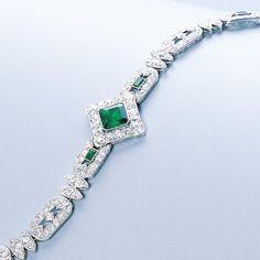 An art deco emerald and diamond bracelet by Cartier