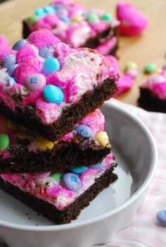 "Peeps ""Candy Bars""  1 box chocolate cake mix  2 eggs  1/2 cup oil  20-24 PEEPS candy (you could use bunnies or chicks; I used pink chicks)  1 cup speckled Easter M's candies"