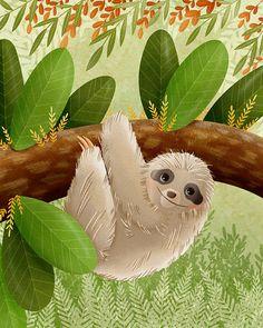 Sloth Art Print Jungle Animals Art sloth by TheFoxandTheTeacup