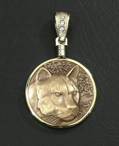 Bronze Cougar Mountain Lion Wildlife Medallion by GoodSpiritWolf