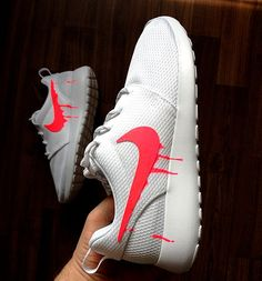 06eb24e48dd827 Items similar to Nike Roshe Run One White with Custom Pink Candy Drip  Swoosh Paint on Etsy