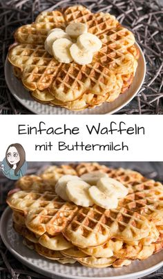 Simple buttermilk waffles recipe- Einfache Buttermilchwaffeln Rezept A simple recipe for soft waffle with buttermilk. Ideal for breakfast, few ingredients and fast preparation - Healthy Dessert Recipes, Smoothie Recipes, Cake Recipes, Desserts, Banana Recipes, Waffle Recipes, Ganache Au Nutella, Buttermilk Waffles, Best Pancake Recipe