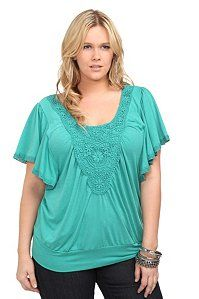 Teal Crochet Front Banded Top | Tops