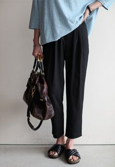 oversised blouse with loose pants!