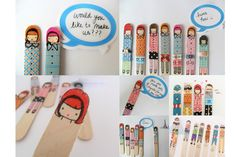 DIY Washi Tape Popsicle Stick Puppets by Pichouline