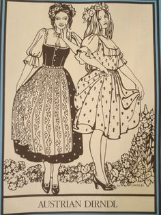 Vintage Folkwear 123 Sewing Pattern, Austrian Dirndls, Folk Costume, National Folkwear, Dress Pattern, Authentic Dirndl Pattern