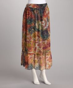 Rust & Blue Paisley Chiffon Skirt   Daily deals for moms, babies and kids