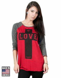 NOTW Love Bold Raglan - Christian Womens Fashiontops