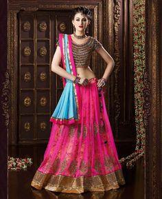 Buy Statuesque Pink & Sky Blue Lehenga Choli online at  https://www.a1designerwear.com/statuesque-pink-sky-blue-lehenga-choli  Price: $82.20 USD