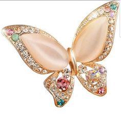 Elegant multi colored, Diamond & Opal Butterfly Brooch