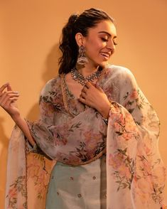 Stunning blush pink color lehenga and sequence blouse with net dupatta. Lehenga with floral print. Explore Mrunalini Rao new collection Calantha at Aza Juhu. Indian Party Wear, Indian Wedding Outfits, Pakistani Outfits, Indian Outfits, Sharara Designs, Kurti Designs Party Wear, Indian Gowns, Indian Attire, Anarkali