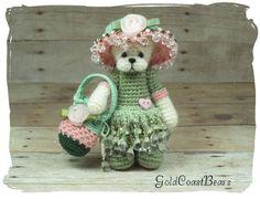 """LAURA"" 3"" OOAK Miniature Bear Doll by, Crochet thread artist GoldCoastBears #AllOccasion ♡"