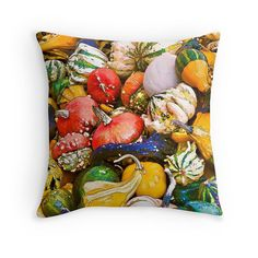 Gourds, Gift for Vegetarian, Kitchen Decor, Food Photography, Farmers Market, Vegetable Cushion, Veggies Throw Pillow, Colorful Pillow