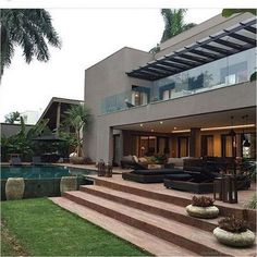 Easy Tips Creating a Contemporary Home Decor & 50 Stunning Modern Decorations Ideas - Page 13 of 53 Modern Contemporary Homes, Modern Decor, Terrace Design, String Lights Outdoor, House Goals, Modern House Design, Exterior Design, Colonial Exterior, Future House