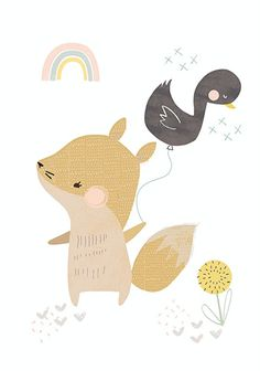 Vicky Riley 'A4 Poster Fox with Duck Balloon'