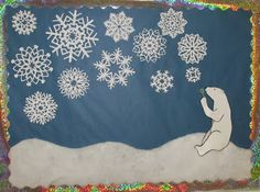 Cute bulletin board idea: A polar bear blowing bubbles that become snowflakes!