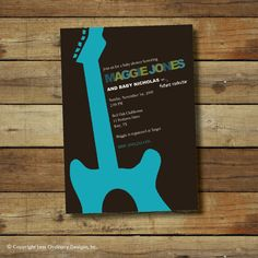 guitar baby shower invitation - boy or girl . . . Rock and Roll. $15.00, via Etsy.