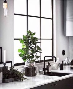 Scandinavian monochrome kitchen By now you probably know that Im a total sucker for industrial windows (see also previous post of a gorgeous bathroom in a former chocolate factory). So it probably wont surprise you that todays post showcases a Scandinavia Scandinavian Kitchen, Scandinavian Interior Design, Scandinavian Style, Industrial Scandinavian, Monochrome Interior, Gray Interior, Kitchen Interior, Interior Design Living Room, Marble Interior