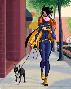 Boston terrier art Batgirl art print batgirl walking by rubenacker