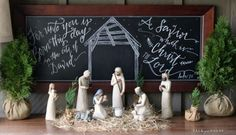 Willow Tree nativity and Christmas chalkboard