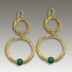 24k gold plated chandelier round earrings with turquoise stones. - Circles of Light. $116.00, via Etsy.