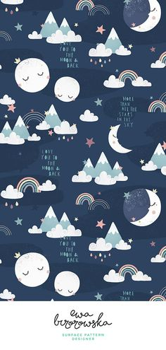 Colorful fabrics digitally printed by Spoonflower - Love you to the moon and back - navy blue - Love you to the moon and back – navy blue version. Moon illustration kids, moon pattern design, s - Nursery Patterns, Kids Patterns, Star Patterns, Wall Patterns, Print Patterns, Scandinavian Pattern, Scandinavian Art, Design Textile, Design Floral