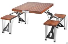 Picnic at Ascot Folding Wooden Picnic Table Built-in Seats for Four