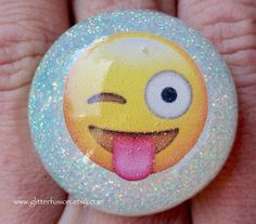 Silly Smiley Face Emoji Resin Statement Ring Sassy Winky