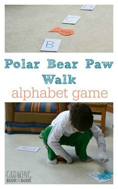 This alphabet game is full of learning and polar animal fun. A perfect activity to get the kids moving from growingbookbybook.com #playfulpreschool