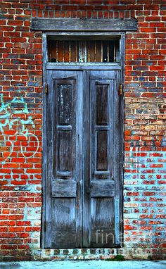 Old Door With Bricks - Photography by Perry Webster