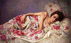 Soledad Fernandez (España, 1949) - El descanso en el mantón, 2003. Óleo sobre lienzo, 73 x 116 cm