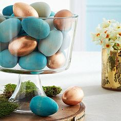 Blue and copper Easter centerpiece