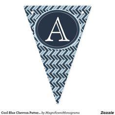 Cool Blue Chevron Pattern Monogram Bunting Flags