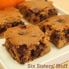 Pumpkin Chocolate Chip Brownies from SixSistersStuff.com
