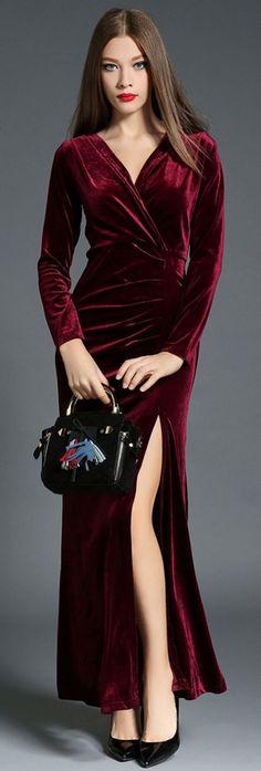 Burgundy V Neck High Slit Dress