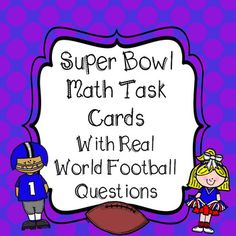 **32 Super Bowl Math Task Cards**  All problems include Real World NFL teams and Numbers!!Includes Student Recording Sheet And Answer KeyGREAT TEST PREP PRACTICE4th Grade Common Core AlignedWord Problems Include:4.OA.2Multiplication and Division to Solve Word Problems4.OA.3Solve Problems Using the Four Operations (No Estimation)4.NBT.5Solve Word Problems Using Multiplication Strategies4.NBT.6Solve Word Problems Involving Division4.