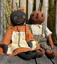 Primitive Folk Art Halloween Jack o Lantern Pumpkin Doll Pair #NaivePrimitive