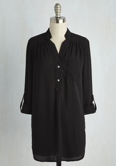 Pam Breeze-ly Tunic in Black. When you want a work wardrobe thats subtle, stylish, and a little bit romantic, make this breezy, black blouse your business! #black #modcloth